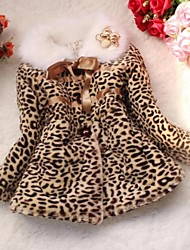 Girl's High Grade Imitation Fur Leopard  Coat