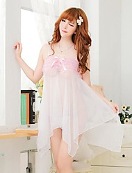 Women's Sexy Transparent Lace Bow Strap Nightgown Pajamas Bud Silk Screen Clothing Trio Set Panty
