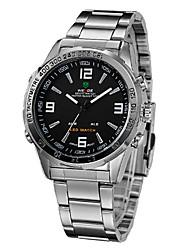 Analoge Uhr mit Dualer Anzeige, Metall Armband
