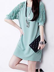 casual couleur unie dentelle manches moitié robe de migeer femmes