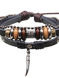 Men's Pendant Jewelry Beads Leather Braided Bracelets