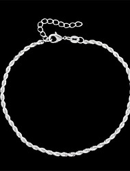 Twisted-Shaped Metal Anklets White Color (1Pc) Jewelry