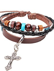 Unisex's Charm Cross Beads Leather Braided Bracelets