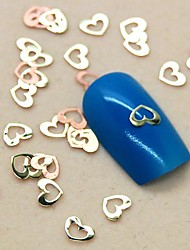 200PCS Lovely Hollow Heart Shape Slice Metal Nail Art Decoration