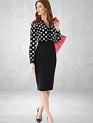 punto v-cuello de la vendimia vestido midi de manga larga delgada de las mujeres