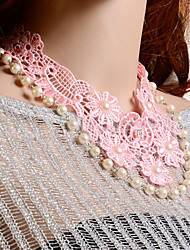 Omuto Upscale Lace Pink Flower Pearl Handmade Necklaces