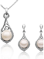 Women's 18K Platinum Diamond Cone Pearl (Necklace&Earrings) Jewelry Sets