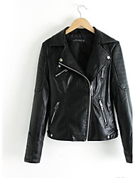 Women's Lapel Show Thin Seal Leather Jacket Lapel Locomotive