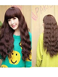 Dark Brown Long Length Wave Synthetic Wig With Side Bang For Girl