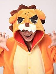 Kigurumi Pijamas León Leotardo/Pijama Mono Festival/Celebración Ropa de Noche de los Animales Halloween Naranja Retazos Vellón de Coral