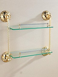 Antique Brass Ti-PVD Wall-mounted Double Glass Shelf