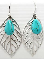 moda shixin® azul resina brincos forma de folha de queda (1 par)