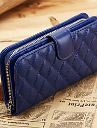 Women's Diamond Lattice Sheepskin Long Wallet Purse Clutches Wristlet