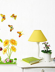 Createforlife® Cartoon Happy Butterflies in the Flowers Kids Nursery Room Wall Sticker Wall Art Decals