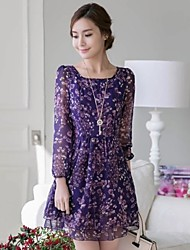 Women's Going out Cute Dress,Floral Above Knee Long Sleeve Beige / Black / Purple All Seasons