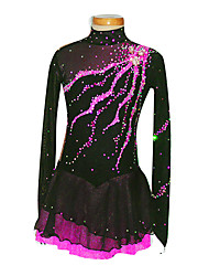 Robe de Patinage Femme / Fille Manches longues Patinage Jupes & Robes Robe de patinage artistique Spandex Noir Tenue de Patinage
