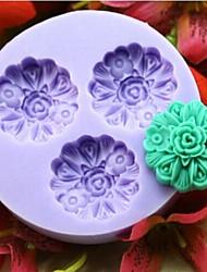 drei Blumen-Back Fondantkuchen choclate Süßigkeiten Schimmel, l6cm * w6cm * h1.3cm