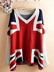 Women's Fashion V Neck Batwing Sleeve UK Flag Loose Pullover Sweater