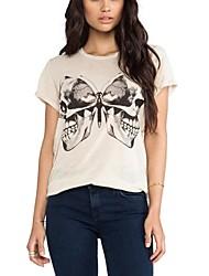Modelo del cráneo de la Mujer y de cuello redondo T-shirt