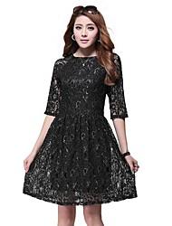 Women's Round Neck Plus Size Dress , Chiffon/Elastic Knee-length ½ Length Sleeve