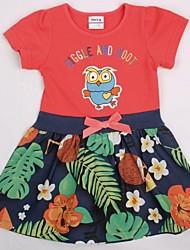 Children Dress Summer Cute Cartoon Embroidery Flowers Print Short Sleeve Cotton Girl Dressss Random Print