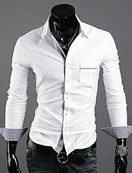lesen moda colletto della camicia degli uomini di controllare manicotto lungo casuale sottile della camicia di colore di contrasto o