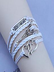 Unisex's Double Heart Pylon Best Friend  Wax Rope  PU Handmade Woven Bracelet