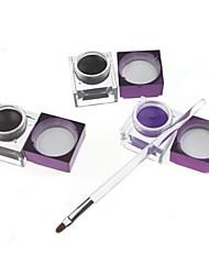 3Pcs Pro Cosmetic Waterproof Eyeliner Black + Brown + Purple Color Eyeliner Gel with Brush 03#