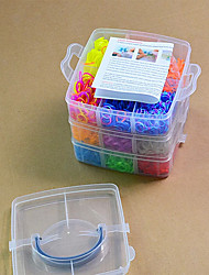 Rainbow Colorful Loom Small Size 18 Cells Multicolor Rubber Band (3000 Pcs) And Connector