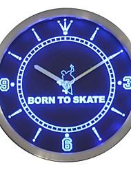 Né à Skate Home Decor Néon LED Horloge murale