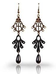 Vintage Imitation Black Pearl Earring E021 dentelle de InOne femmes