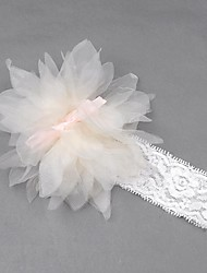 Girl's Cute Kids Baby Sweet Headband Hairband Elastic Ruffle Flower Bow Knot White