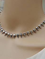 moda siyun ponta em forma de bala incrustada colar curto com strass
