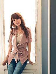 Q & A Damen Kurzarm-Oberbekleidung mit Band (Pink)