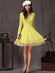 Women's Round Long Sleeve Lace Dress