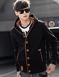 Men's Solid Casual Jacket / Coat,Cotton / Polyester Long Sleeve-Black / Blue / Brown / Gray