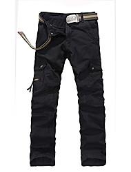 jingqiang moda cor sólida lazer retas calças retas (acessórios aleatórios)