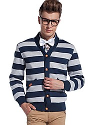Men's Striped Casual Coat,Cotton / Polyester Long Sleeve-Green / Gray