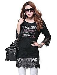 As mulheres atam costura Falso impressão T Shirt