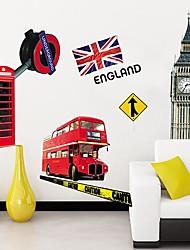 Createforlife® London Bus Big Ben Flag Kids Nursery Room Wall Sticker Wall Art Decals