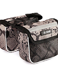 b-Seele 600d Polyester khaki und schwarz wasserdichte tragbare Fahrradrahmentasche mit Reflexstreifen