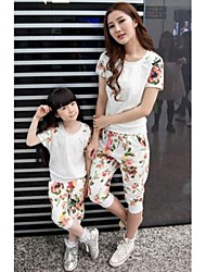 Family's Fashion Contracted Floral Round Collar Short Sleeve Mother Daughter Clothing Sets
