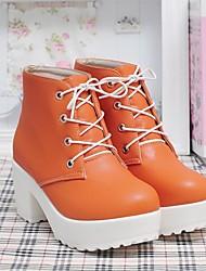 Calçados Femininos - Botas - Botas da Moda - Anabela - Branco / Laranja - Couro Sintético - Casual