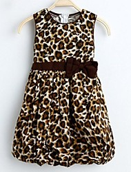 Girl's 2 Layers Leopard Print Cotton Bow Lantern Sundress Kids Clothing Party Birthday Dress