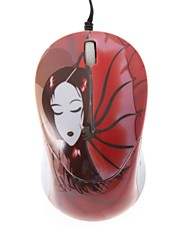 Bat Girls Mini Color Printing Optical Retractable Cable USB Mouse