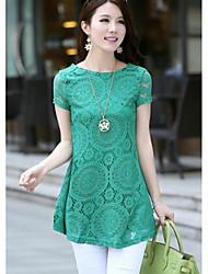Moda oco Lace Imprimir A-line das mulheres mini vestido