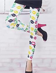 Donna MEROKETTY ® Popolare Lip Stampa Stretch Skinny ghette