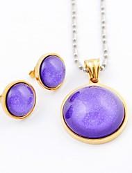 Colorido de la manera de acrílico Titanio Acero chapado en oro Collares y pendientes de piedras preciosas Sistemas de la joyería