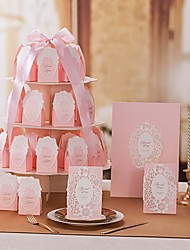 Pink Flora Invitation Set-Set Of 20/50(20/50 Invitations,20/50 Favor Boxes,1 Guest Book,10 Number Card)