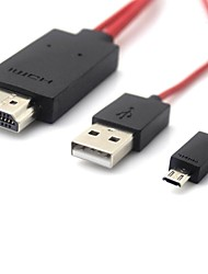 6FT HD 1080P MHL Micro USB au câble adaptateur HDMI pour Galaxy NOTE 2 / S3 / S4 / i9300 Rouge